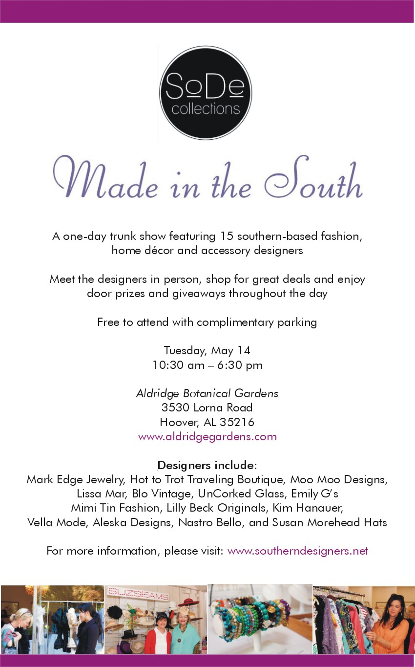 Dont miss the Made in the South trunk show on May 14 Same Chic